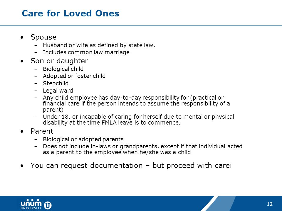Care for Loved Ones Spouse Son or daughter Parent