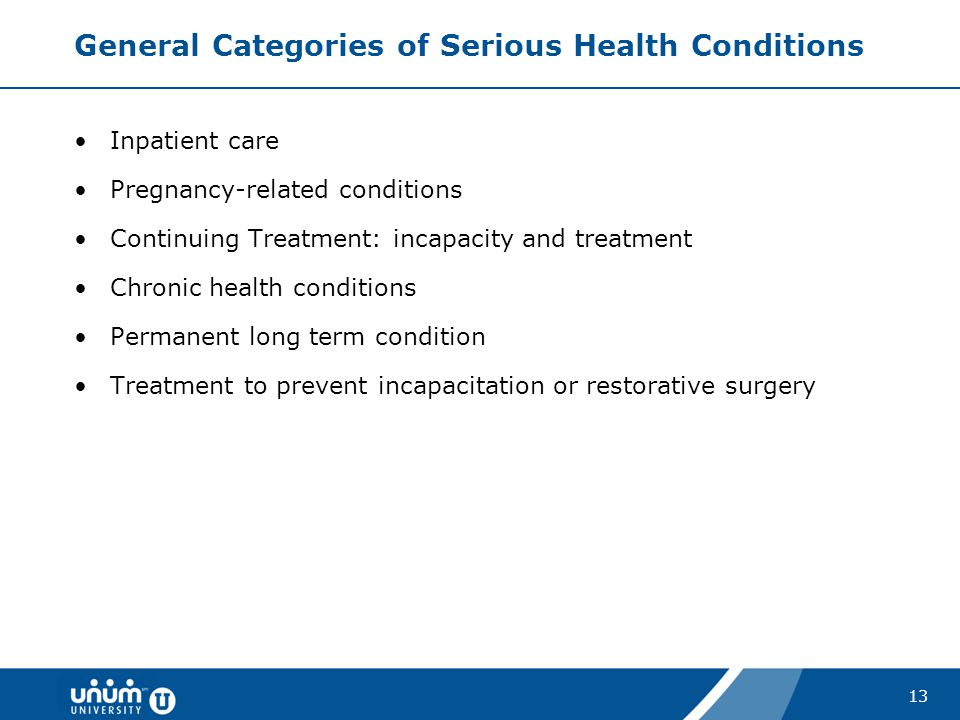 General Categories of Serious Health Conditions