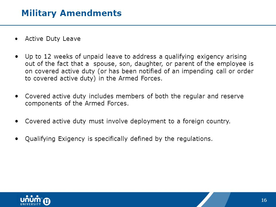 Military Amendments Active Duty Leave