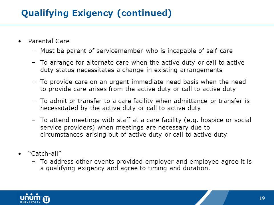 Qualifying Exigency (continued)