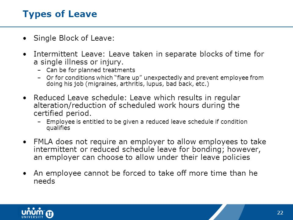Types of Leave Single Block of Leave: