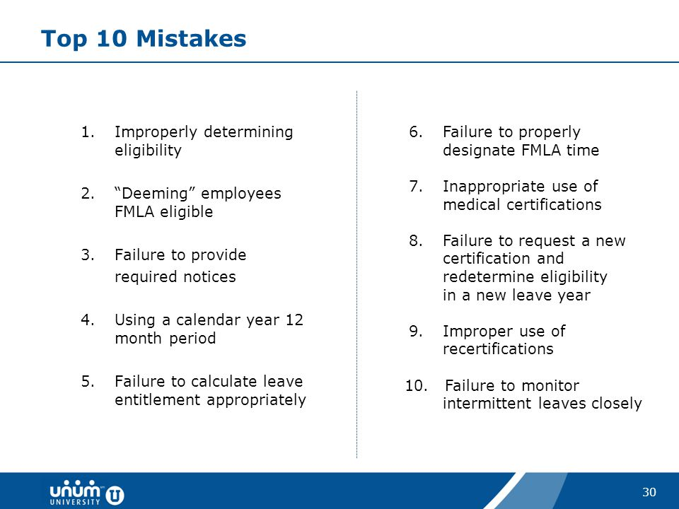 Top 10 Mistakes Improperly determining eligibility
