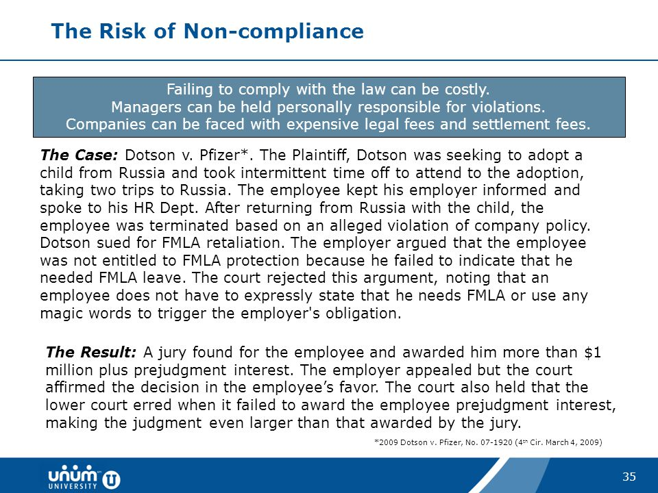 The Risk of Non-compliance