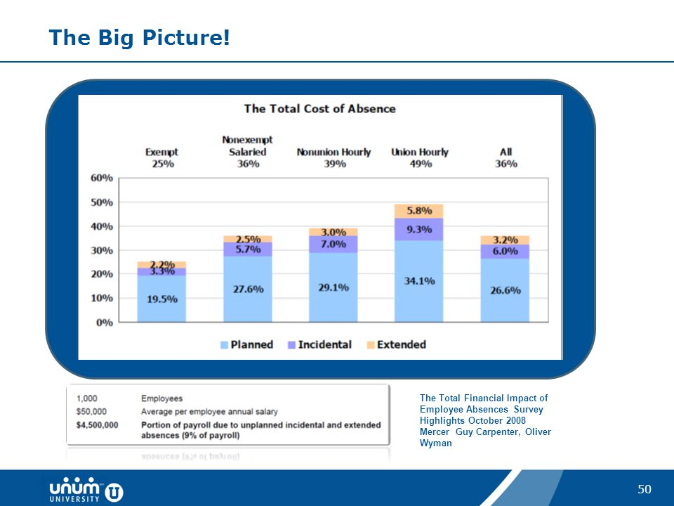The Big Picture. The Total Financial Impact of Employee Absences Survey Highlights October 2008.
