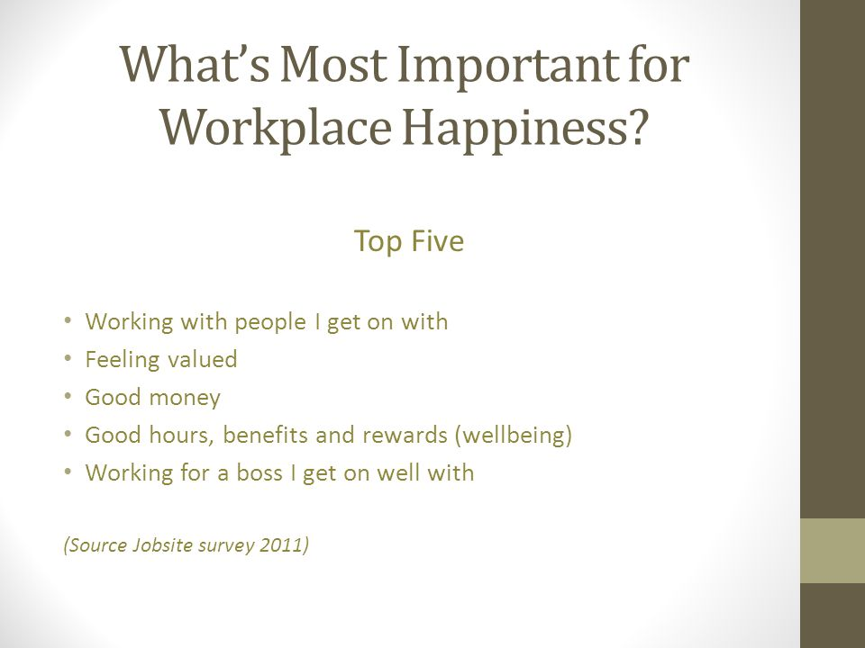 What's Most Important for Workplace Happiness
