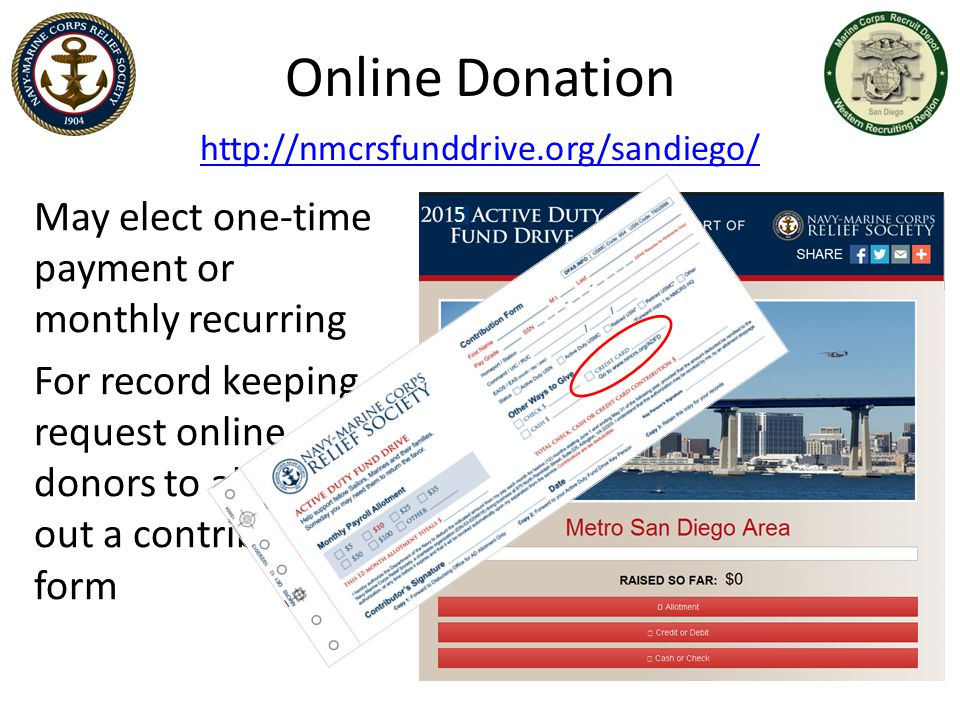 Online Donation May elect one-time payment or monthly recurring
