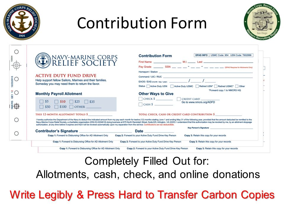 Contribution Form Completely Filled Out for: