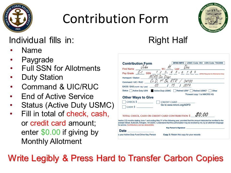 Write Legibly & Press Hard to Transfer Carbon Copies