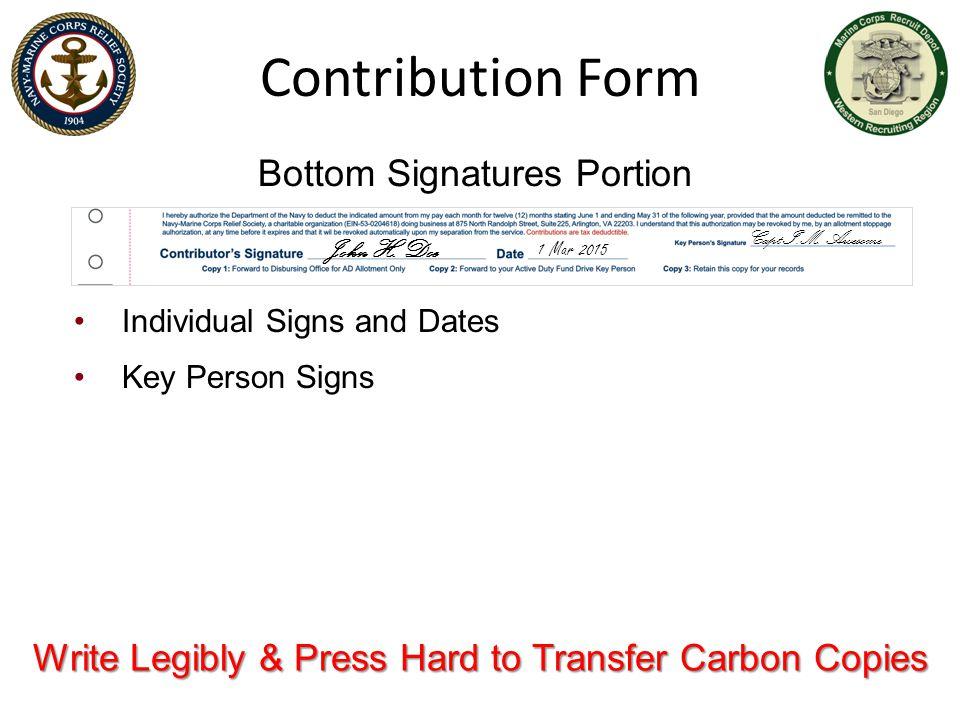 Contribution Form Bottom Signatures Portion
