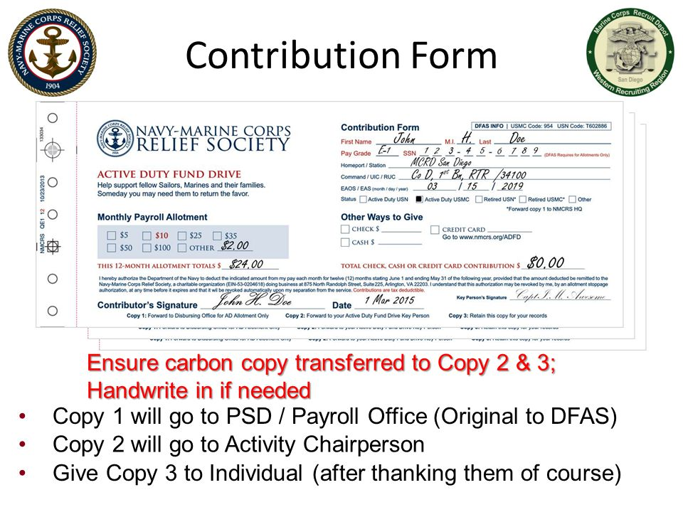Contribution Form Ensure carbon copy transferred to Copy 2 & 3; Handwrite in if needed.
