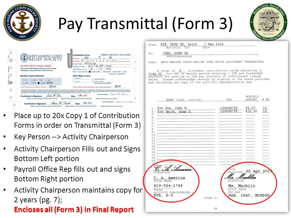 Pay Transmittal (Form 3)