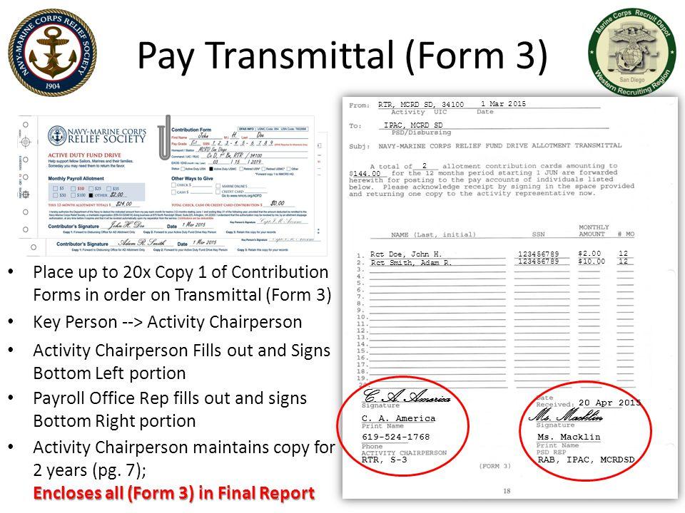 Pay Transmittal (Form 3)