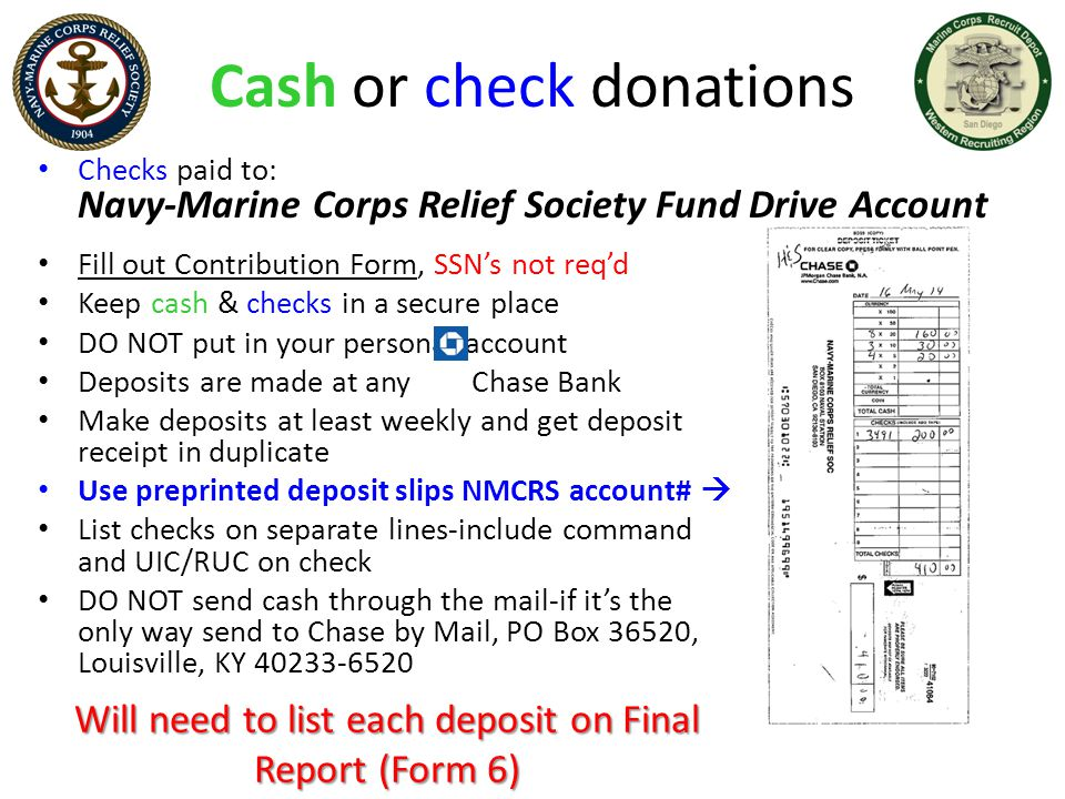 Cash or check donations