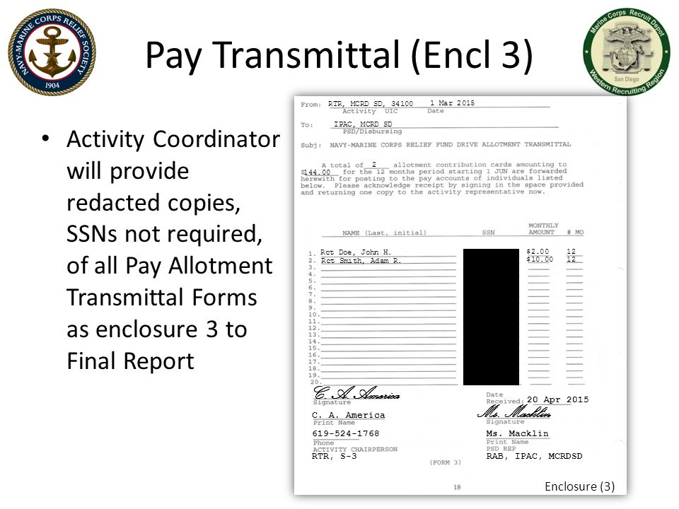 Pay Transmittal (Encl 3)