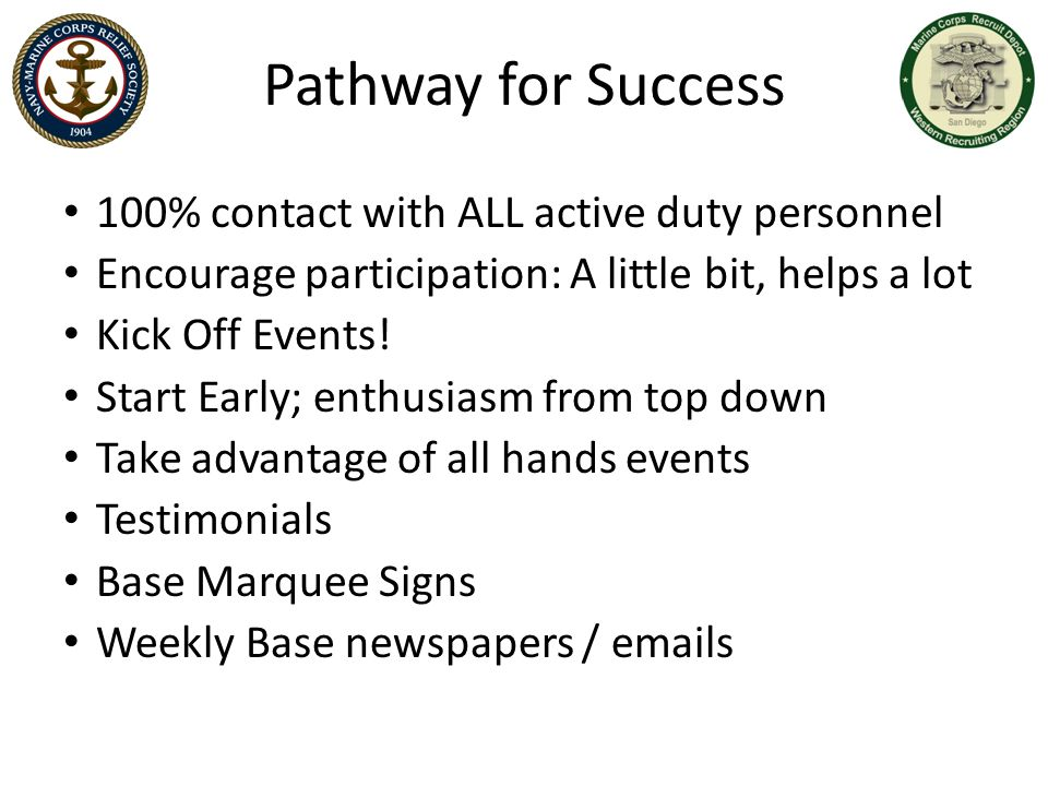 Pathway for Success 100% contact with ALL active duty personnel