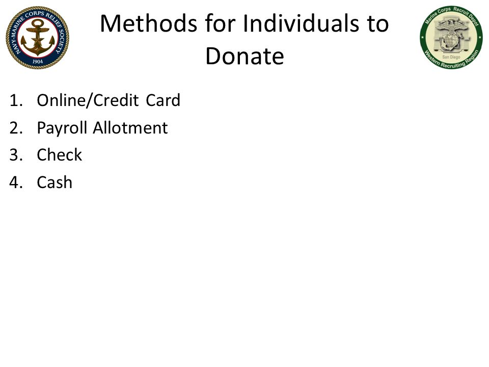 Methods for Individuals to Donate