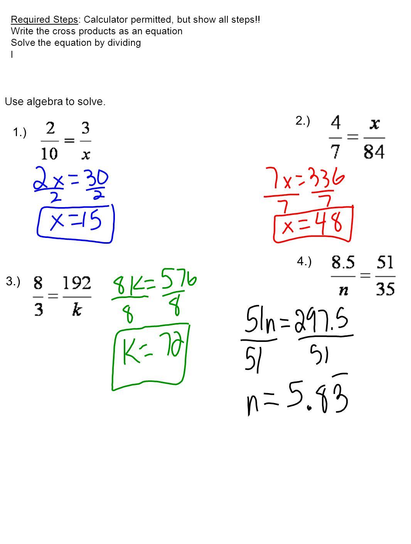 2.) 4.) 3.) 1.) Use algebra to solve.