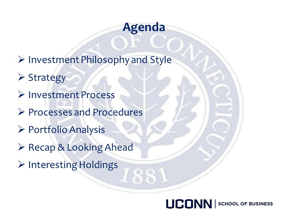 Agenda Investment Philosophy and Style Strategy Investment Process