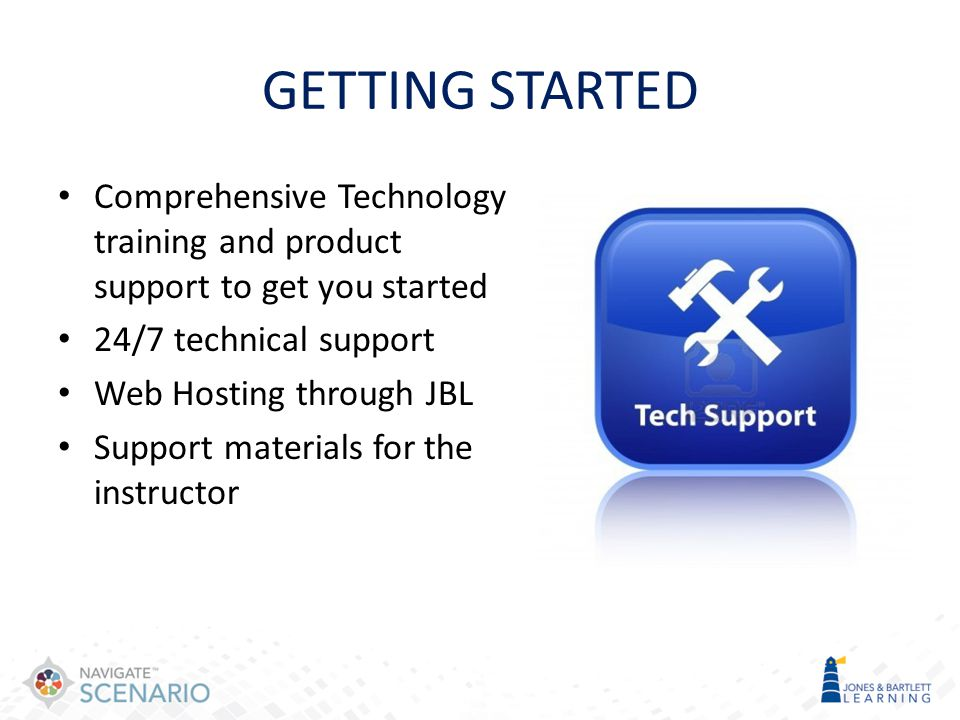 GETTING STARTED Comprehensive Technology training and product support to get you started. 24/7 technical support.