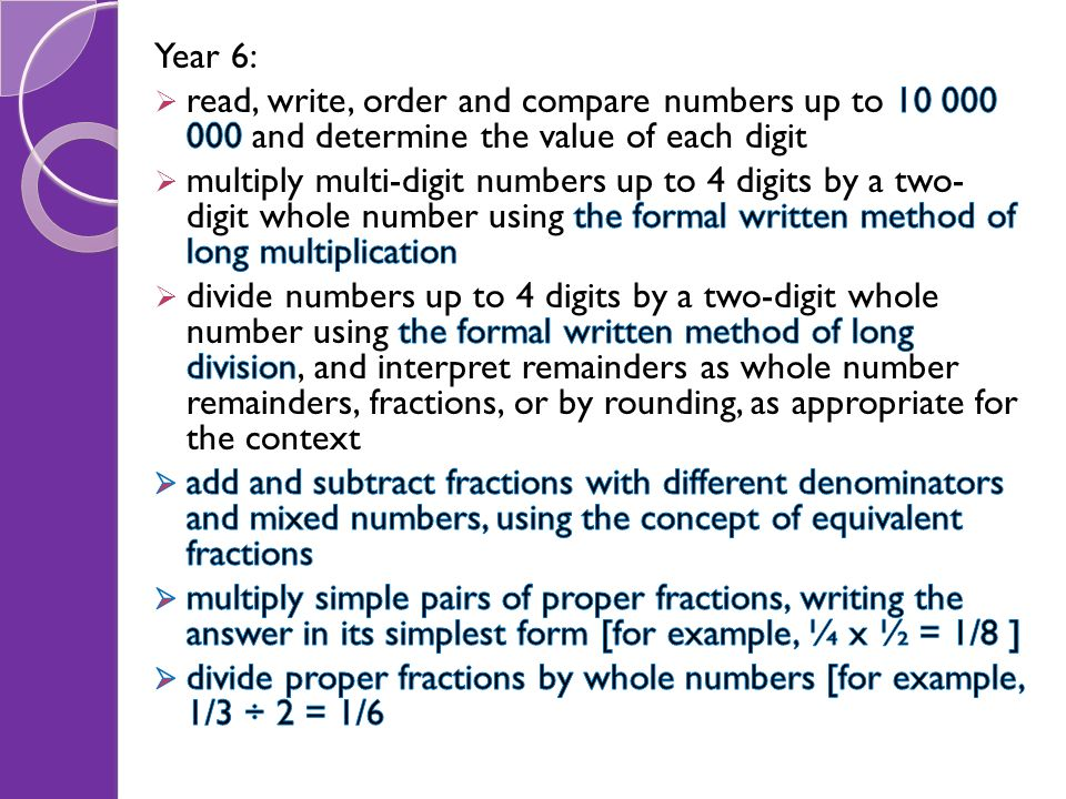 Year 6: read, write, order and compare numbers up to 10 000 000 and determine the value of each digit.