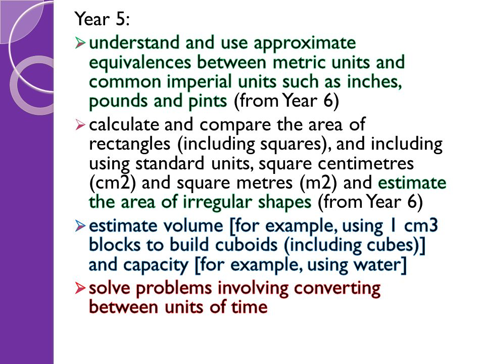Year 5: understand and use approximate equivalences between metric units and common imperial units such as inches, pounds and pints (from Year 6)