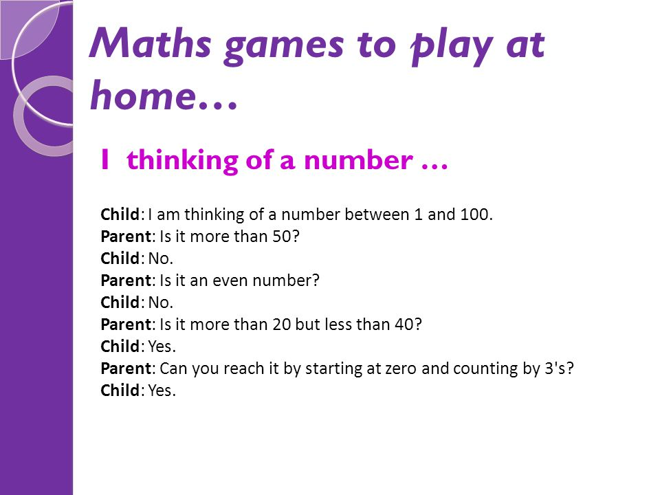 Maths games to play at home…