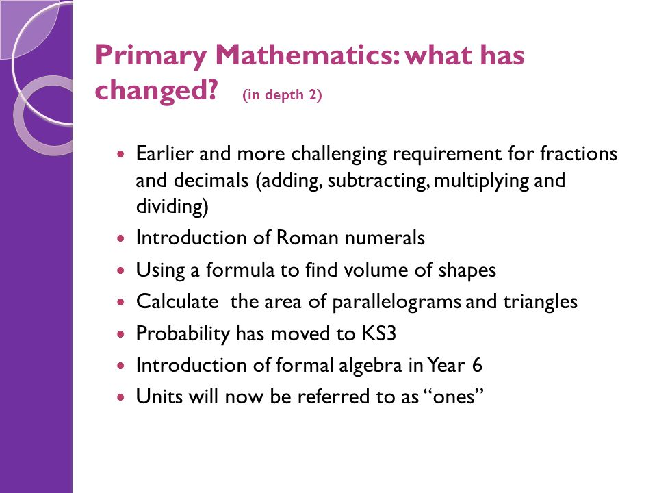 Primary Mathematics: what has changed (in depth 2)