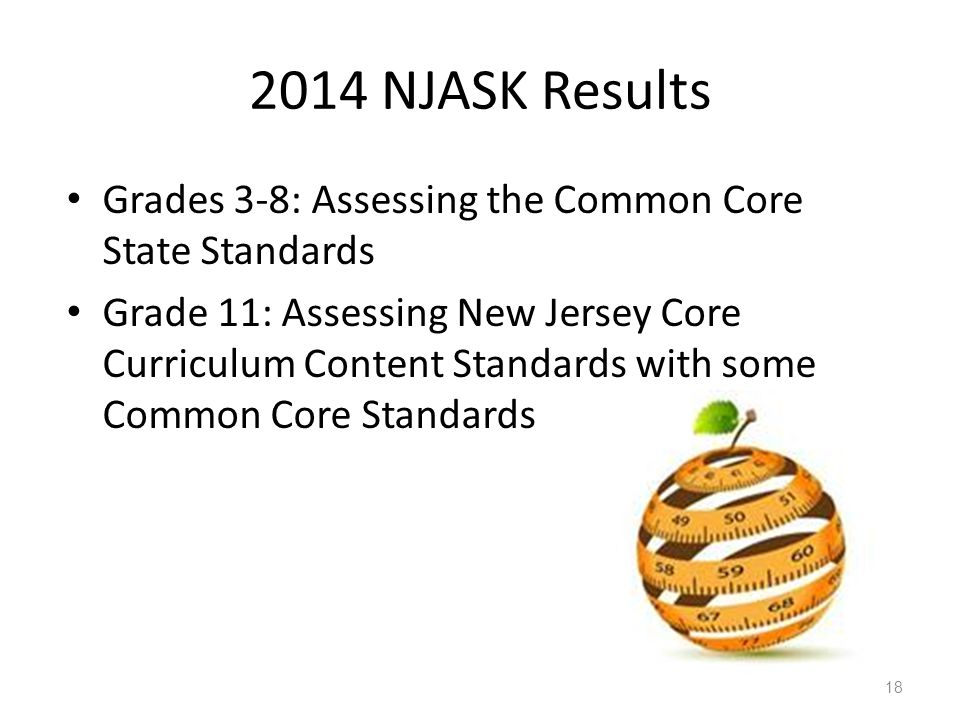 2014 NJASK Results Grades 3-8: Assessing the Common Core State Standards.