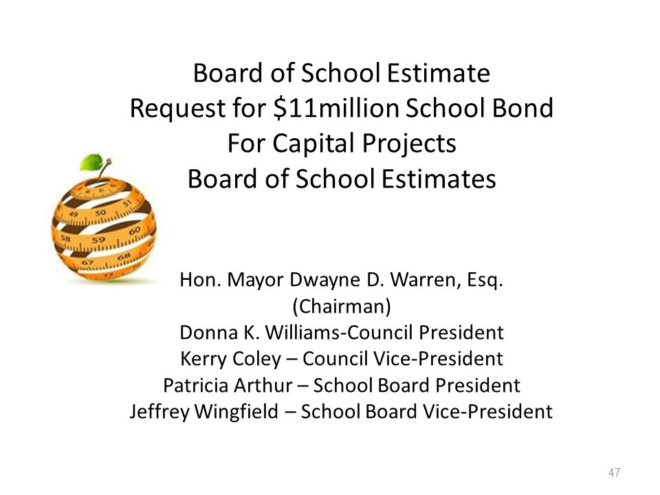 Board of School Estimate Request for $11million School Bond