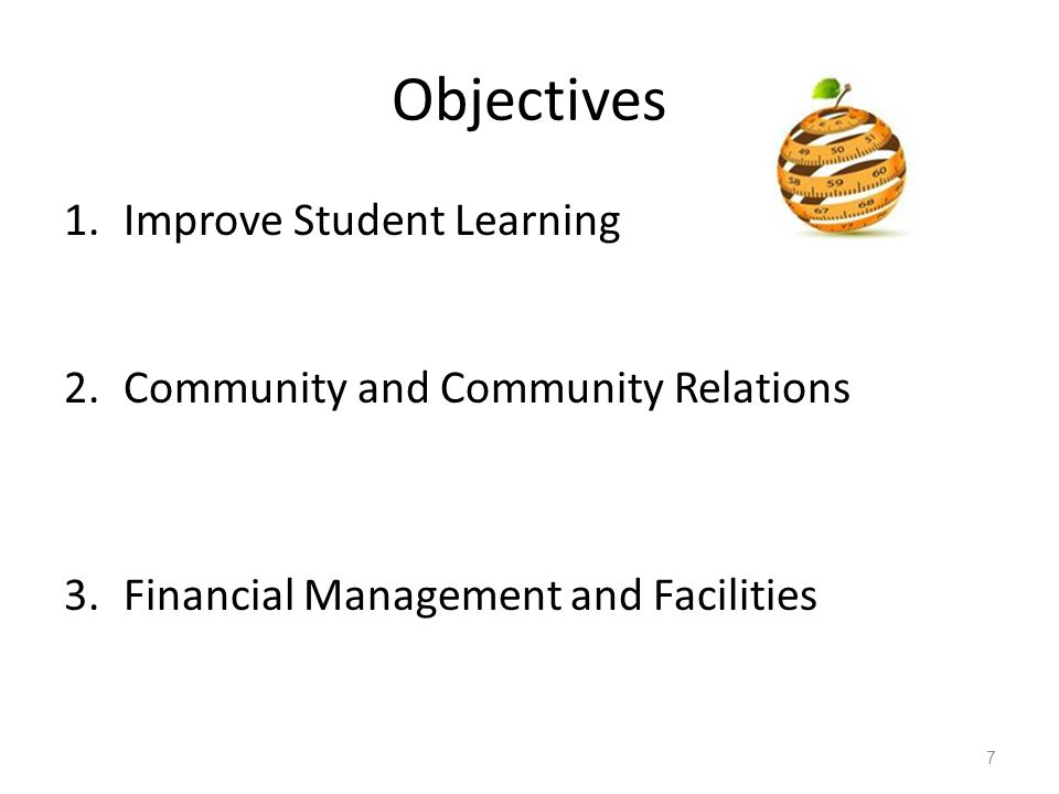 Objectives Improve Student Learning Community and Community Relations