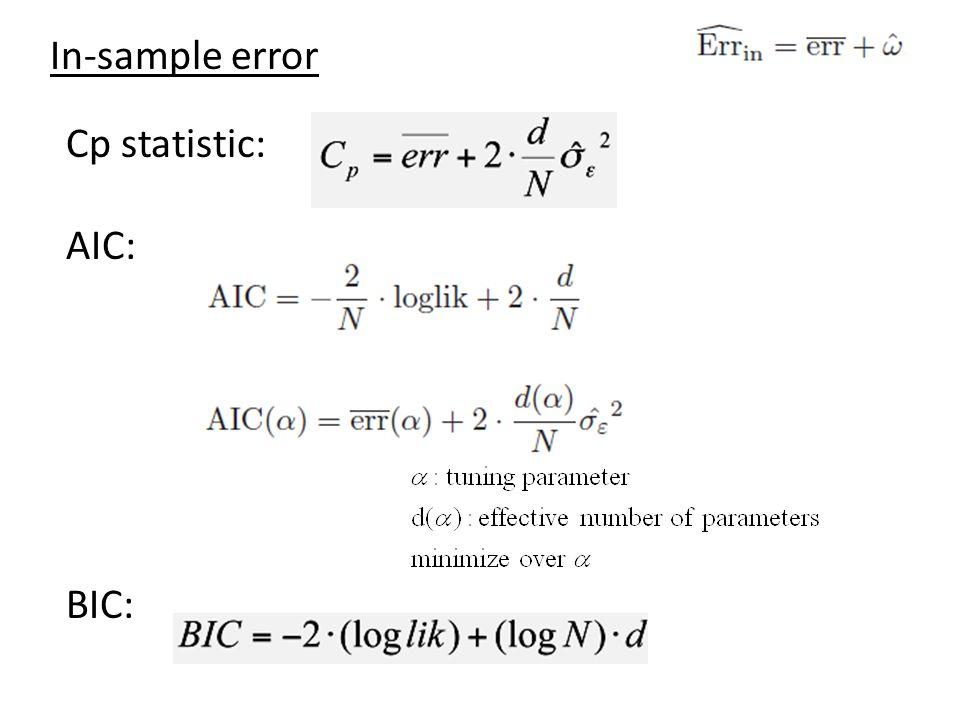 In-sample error Cp statistic: AIC: BIC: