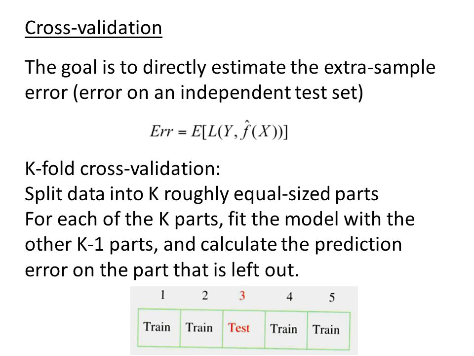 Cross-validation The goal is to directly estimate the extra-sample error (error on an independent test set)