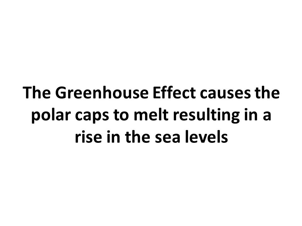 The Greenhouse Effect causes the polar caps to melt resulting in a rise in the sea levels