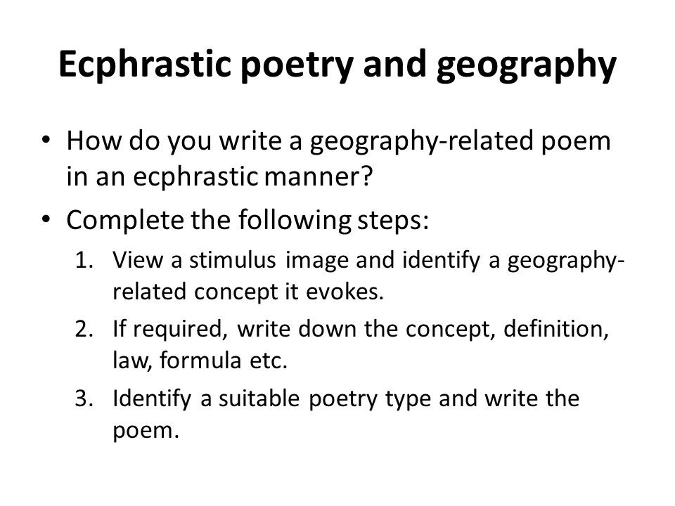 Ecphrastic poetry and geography