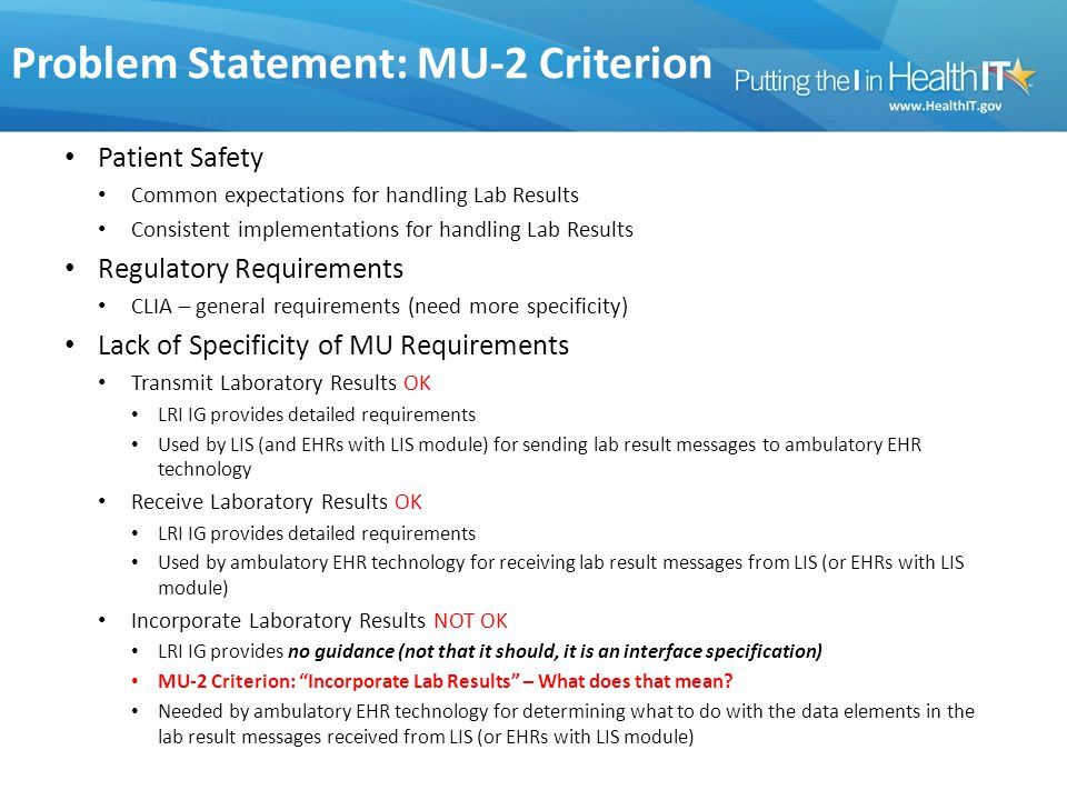 Problem Statement: MU-2 Criterion