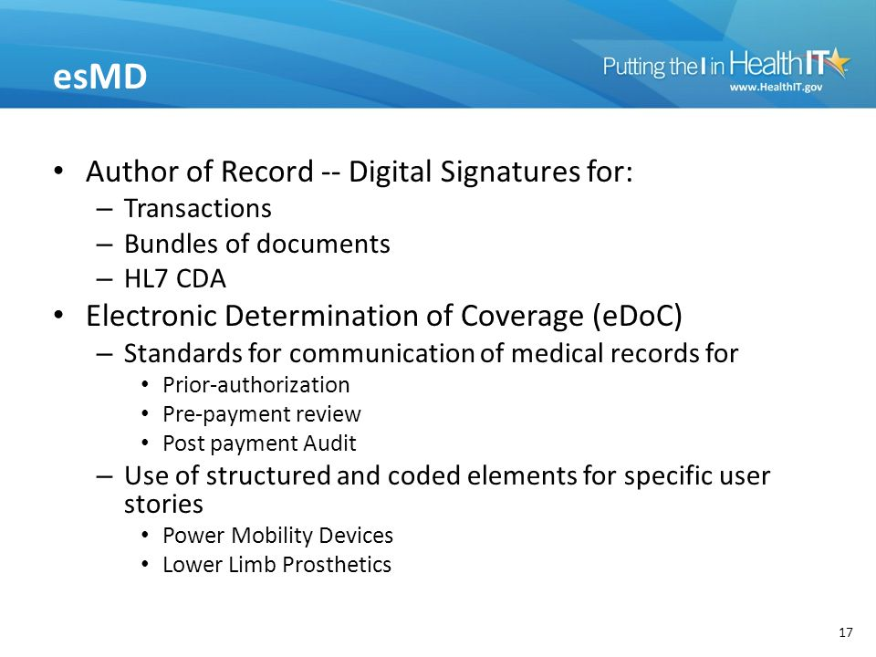 esMD Author of Record -- Digital Signatures for: