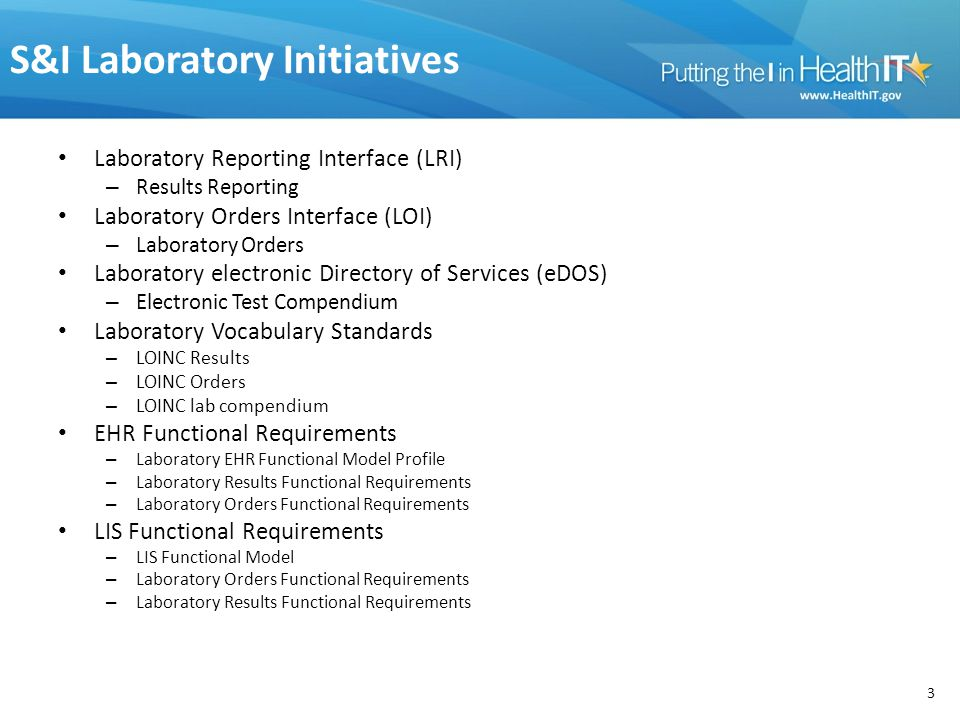 S&I Laboratory Initiatives