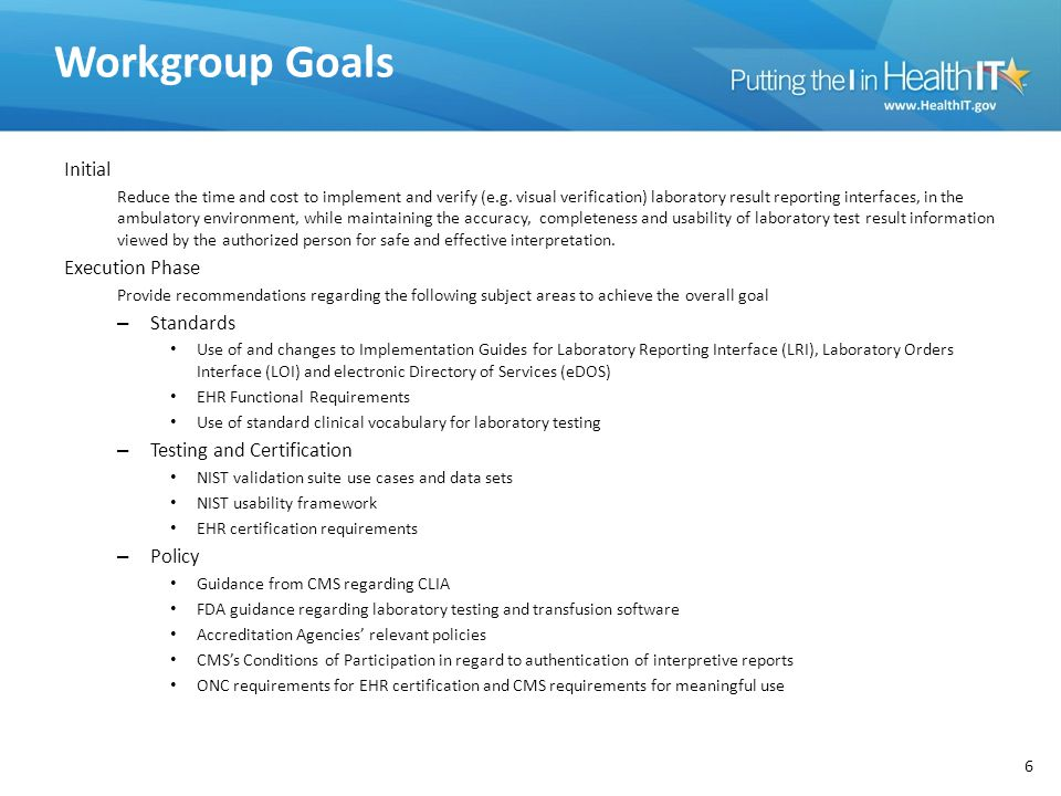 Workgroup Goals Initial Execution Phase Standards