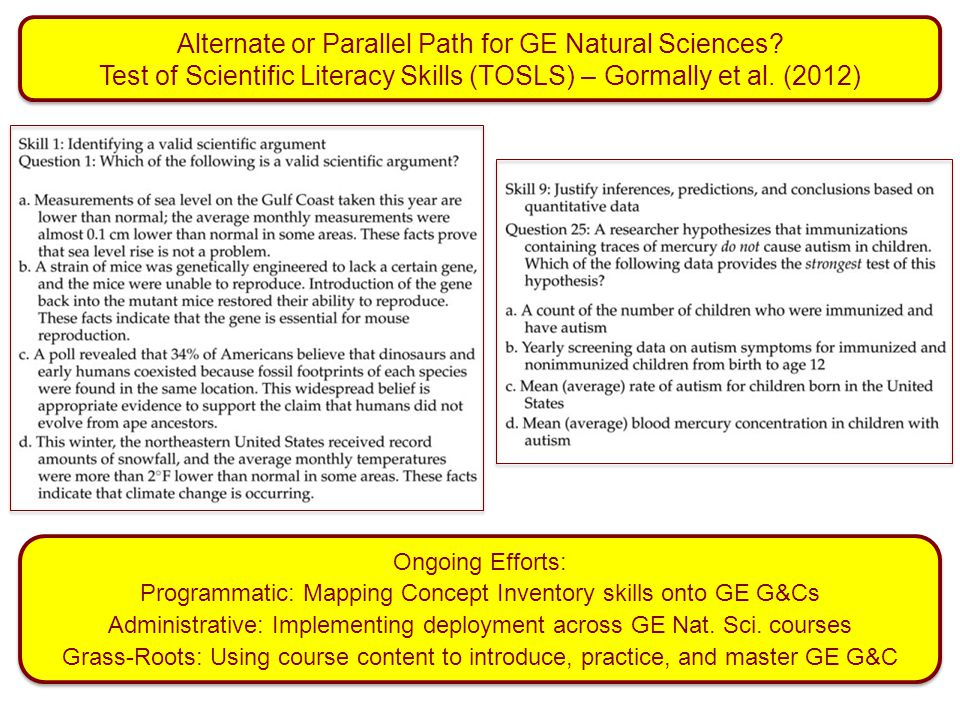 Alternate or Parallel Path for GE Natural Sciences