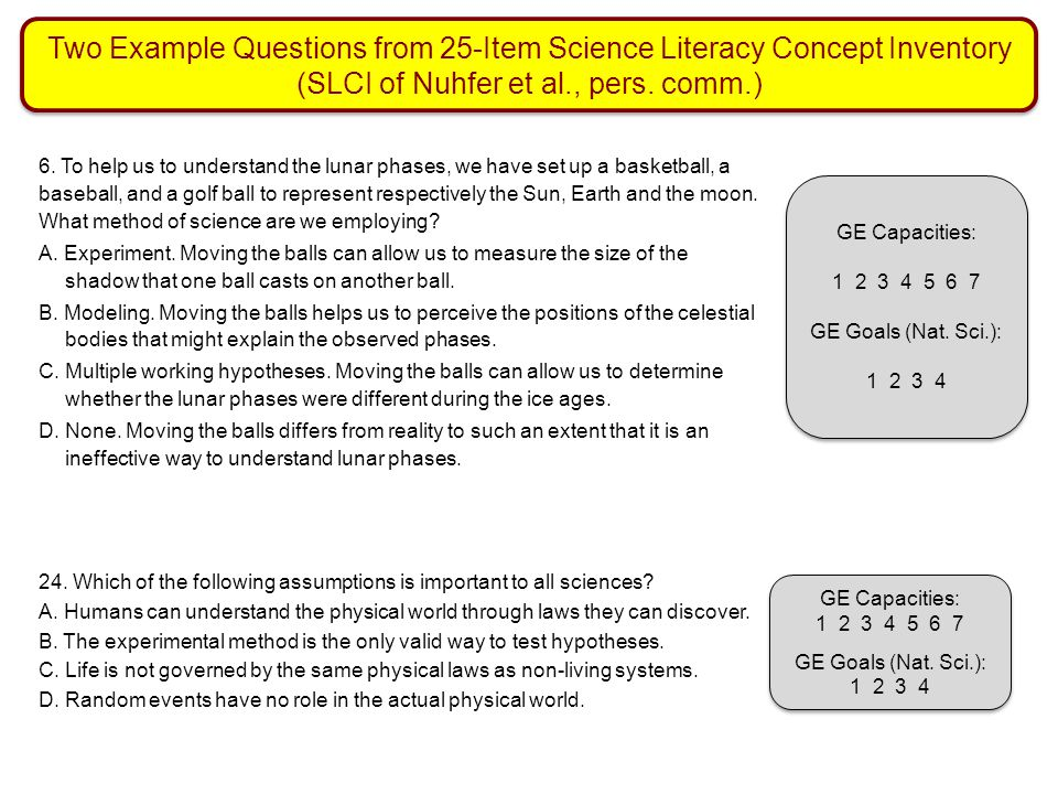 Two Example Questions from 25-Item Science Literacy Concept Inventory (SLCI of Nuhfer et al., pers. comm.)