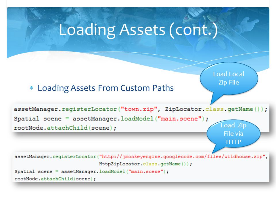 Loading Assets (cont.) Loading Assets From Custom Paths