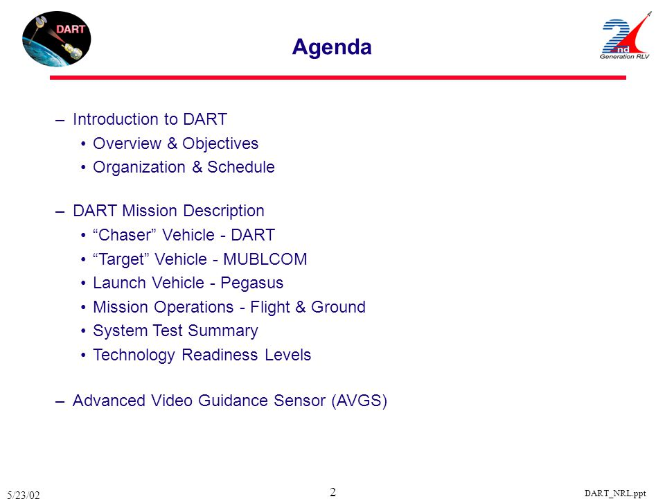 Agenda Introduction to DART Overview & Objectives