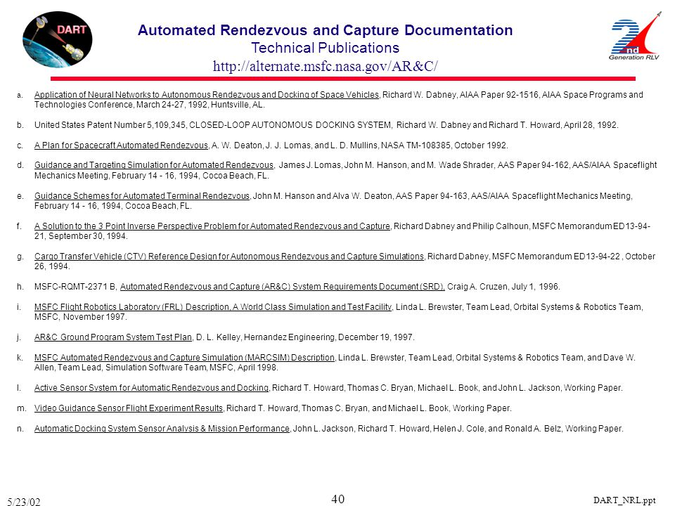 Automated Rendezvous and Capture Documentation Technical Publications