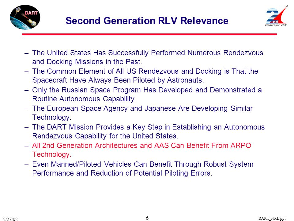 Second Generation RLV Relevance