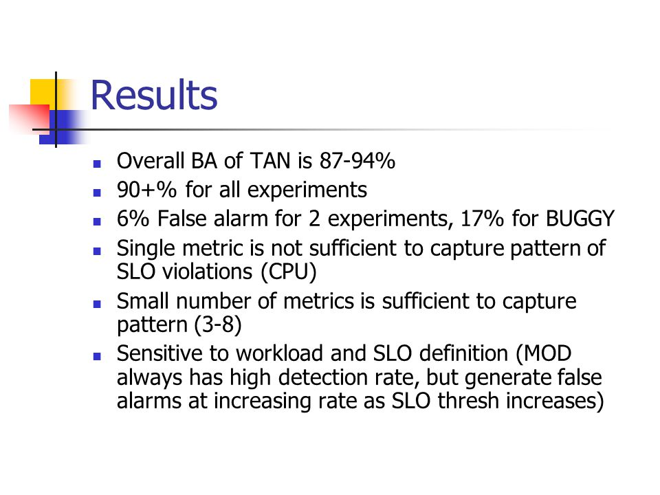 Results Overall BA of TAN is 87-94% 90+% for all experiments