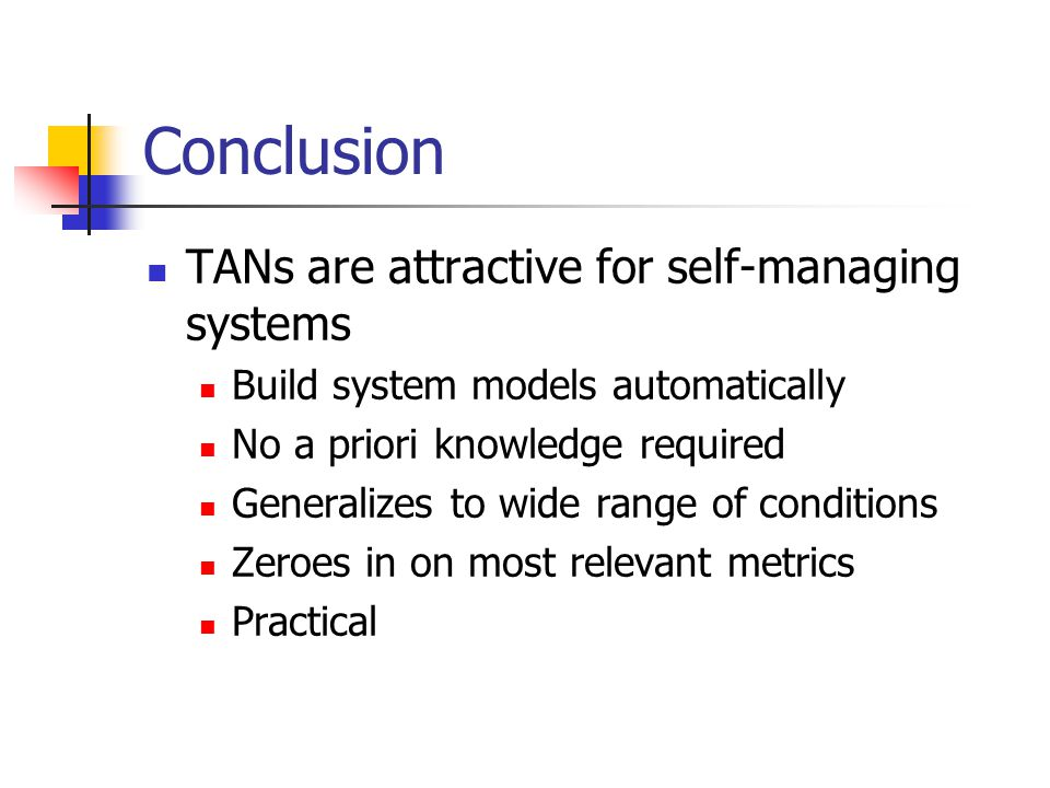 Conclusion TANs are attractive for self-managing systems