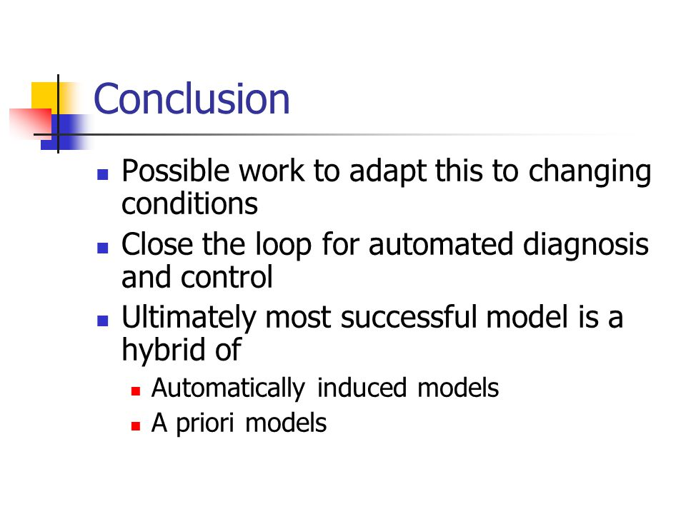 Conclusion Possible work to adapt this to changing conditions