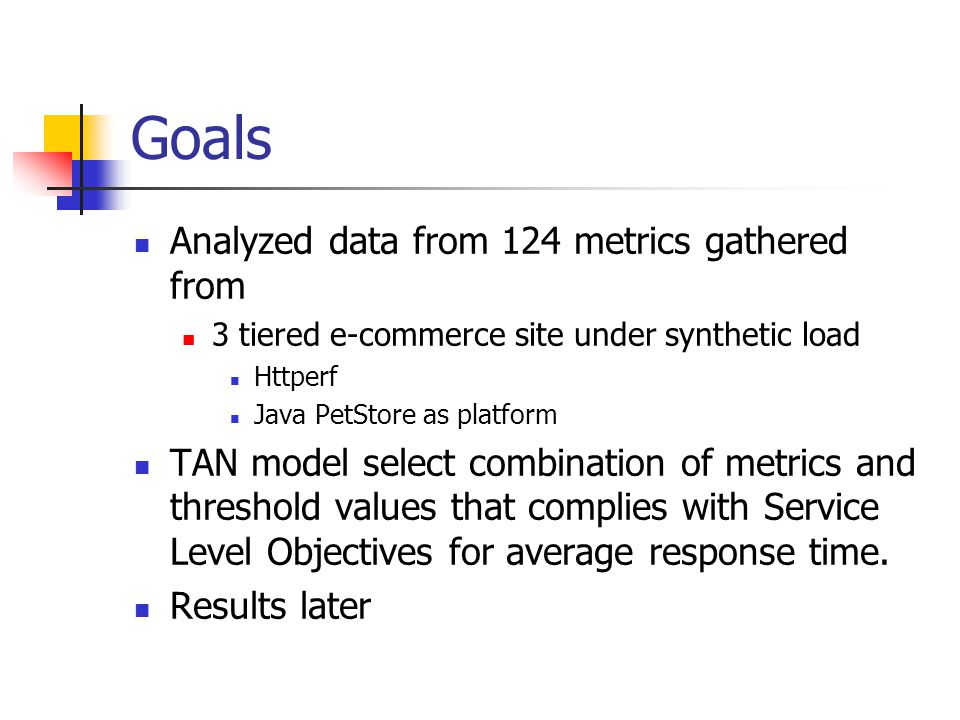 Goals Analyzed data from 124 metrics gathered from