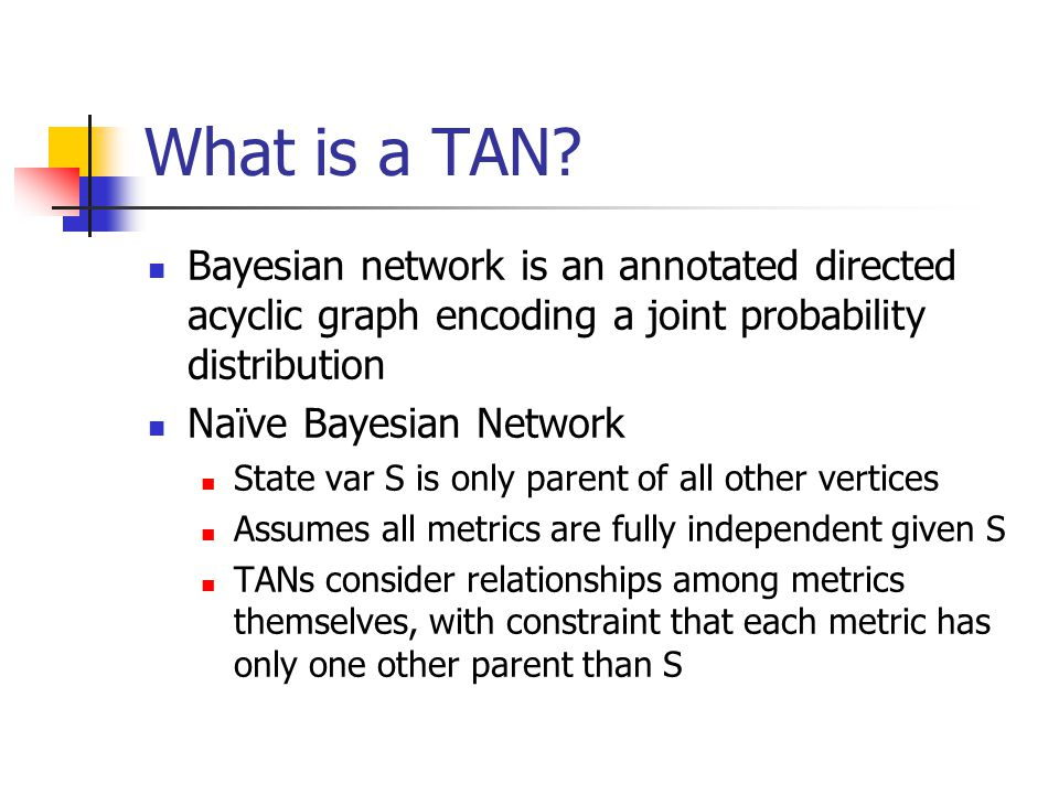 What is a TAN Bayesian network is an annotated directed acyclic graph encoding a joint probability distribution.