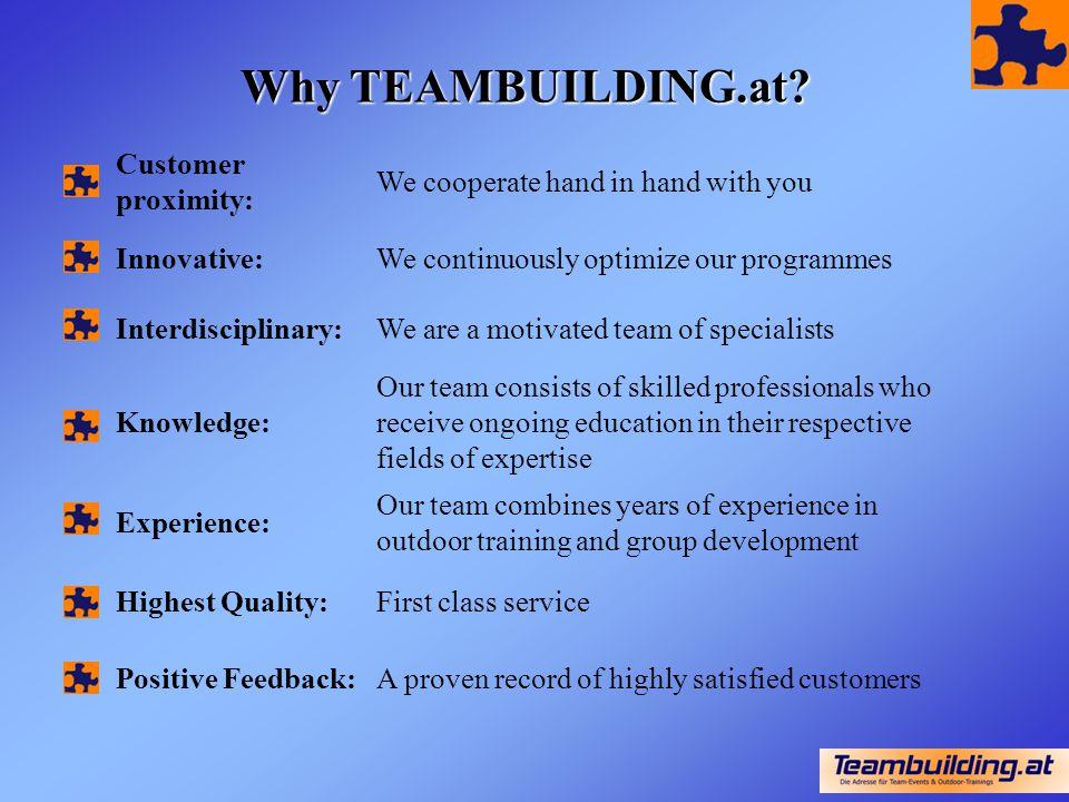 Why TEAMBUILDING.at Customer proximity: